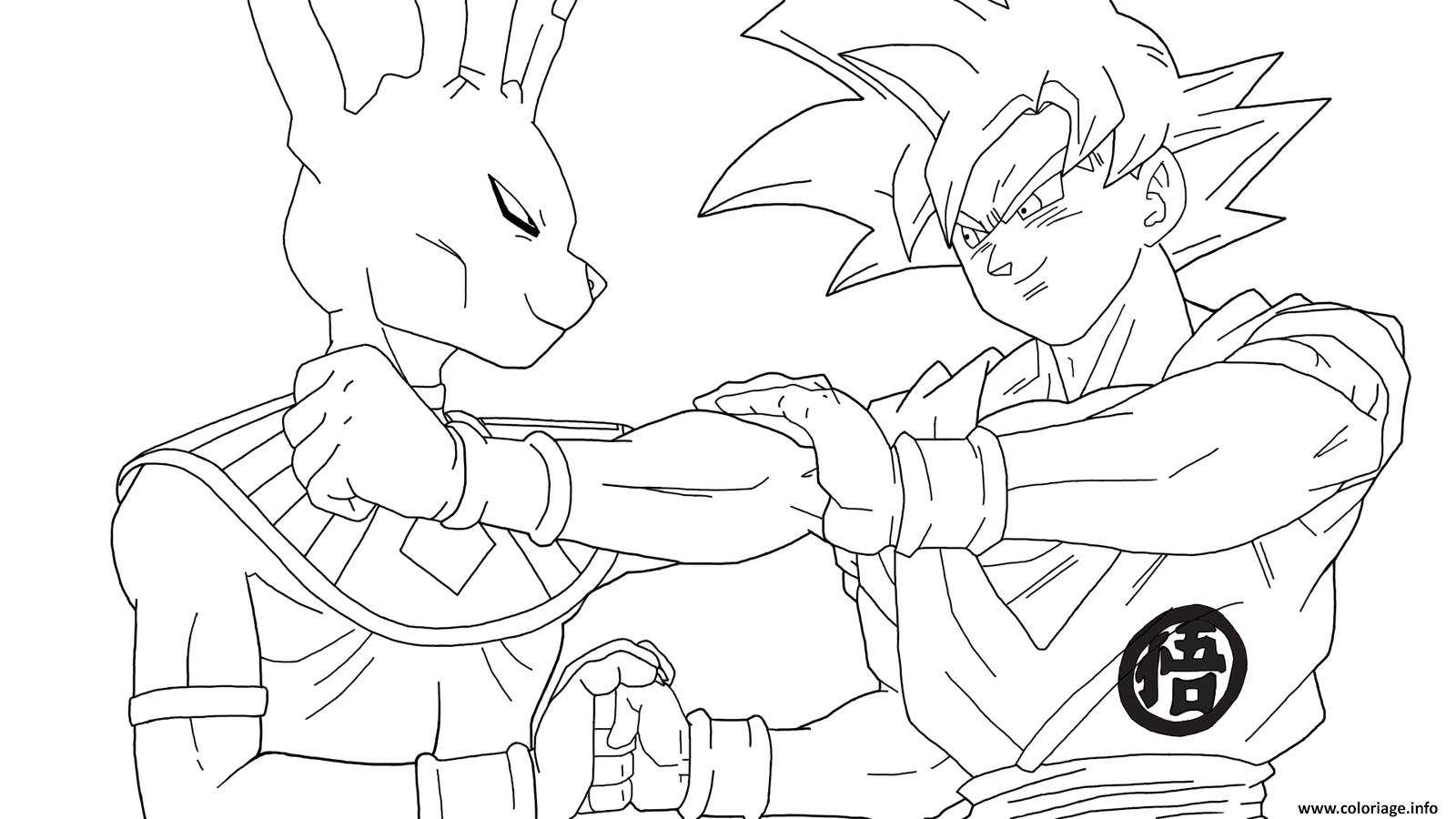 Coloriage Beerus Vs Goku Super Saiyan Gold Dbz Jecolorie Com