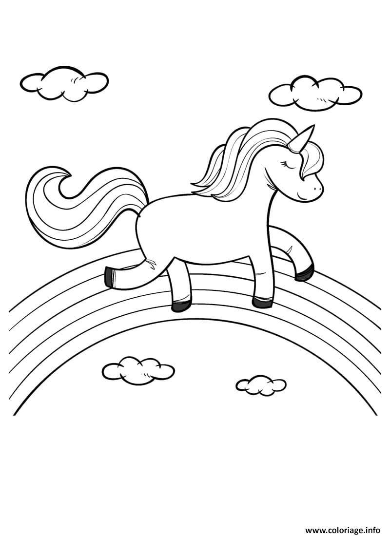 Coloriage licorne marche sur un arc en ciel avec ...