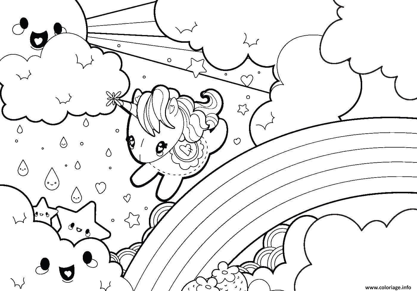 Coloriage Arc En Ciel Avec Licorne Kawaii Dessin