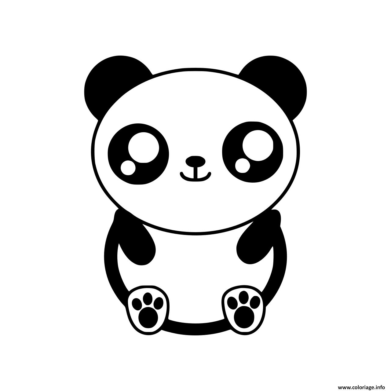 Coloriage Kawaii Panda Dessin A Imprimer