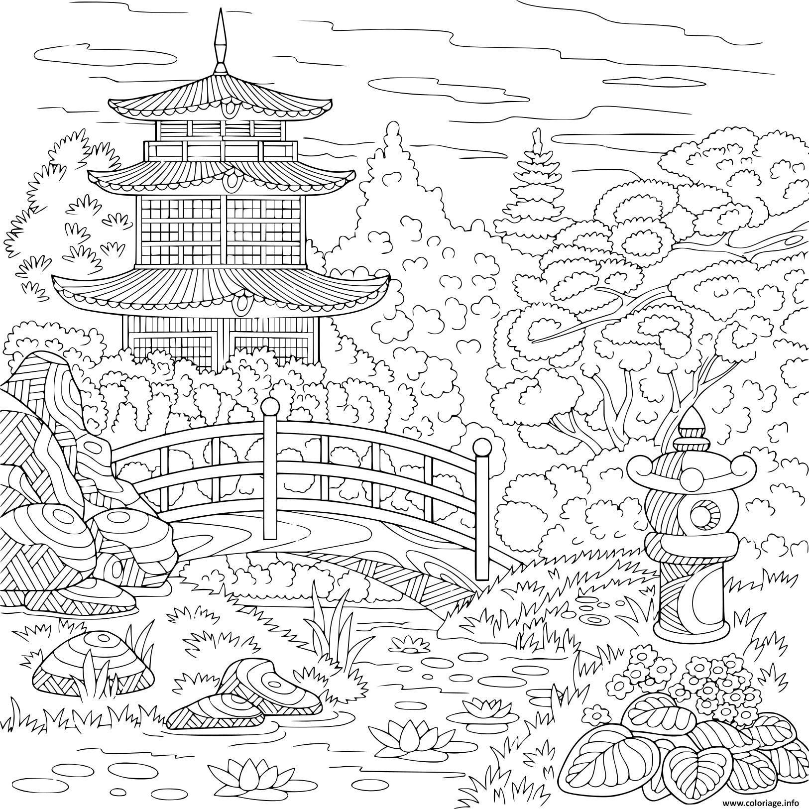 Coloriage Adulte Paysage Temple Oriental Japonais Tour ...
