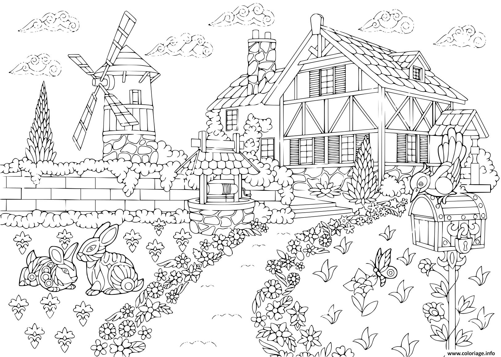 Coloriage Adulte Paysage Rural Ferme Moulin A Vent Puits D Eau Boite Aux Lettres Lapins Et Oiseau Pic Cro Dessin Adulte A Imprimer
