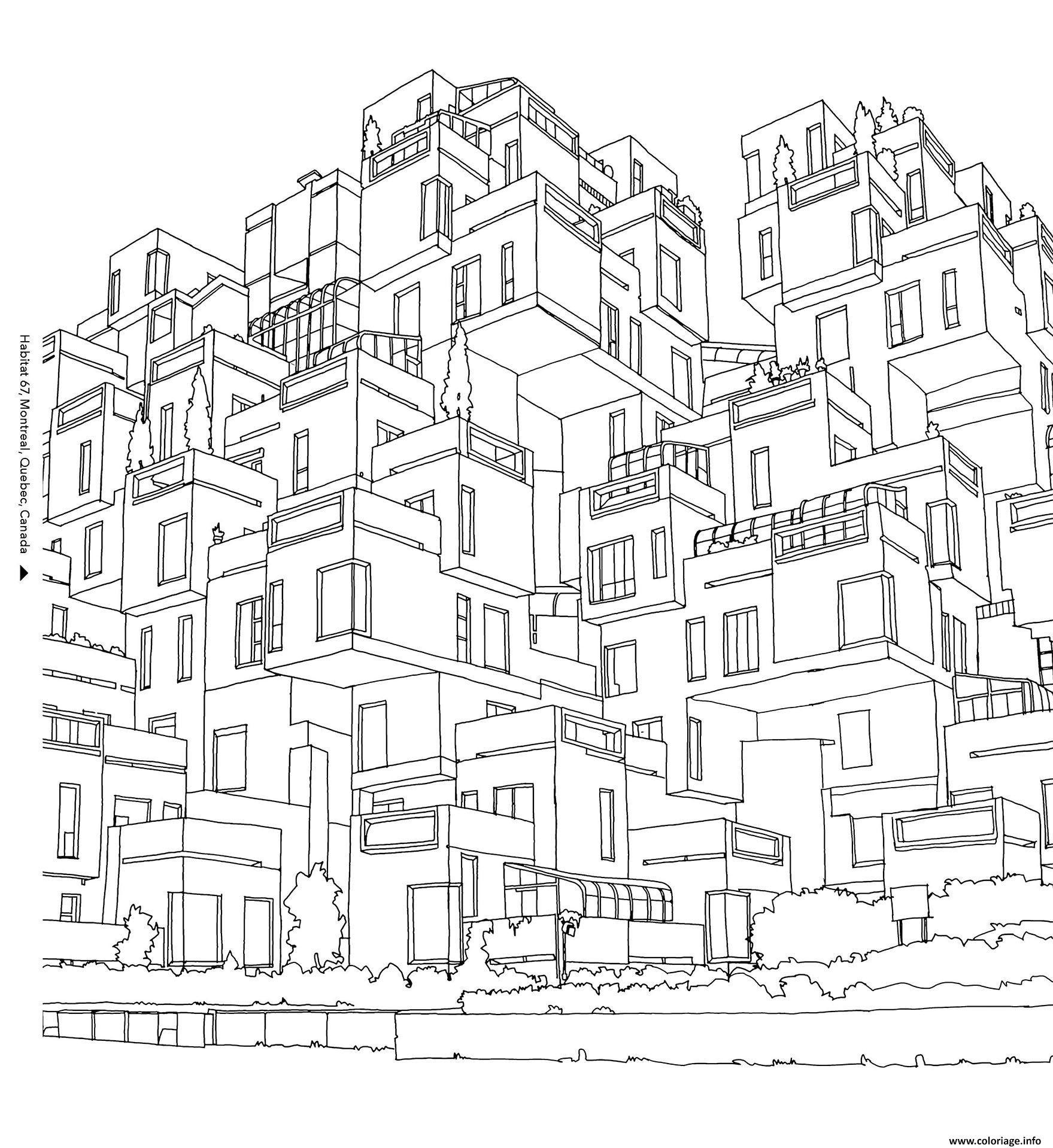 Dessin habitat 67 ville de Montreal au Qubec Canada Coloriage Gratuit à Imprimer