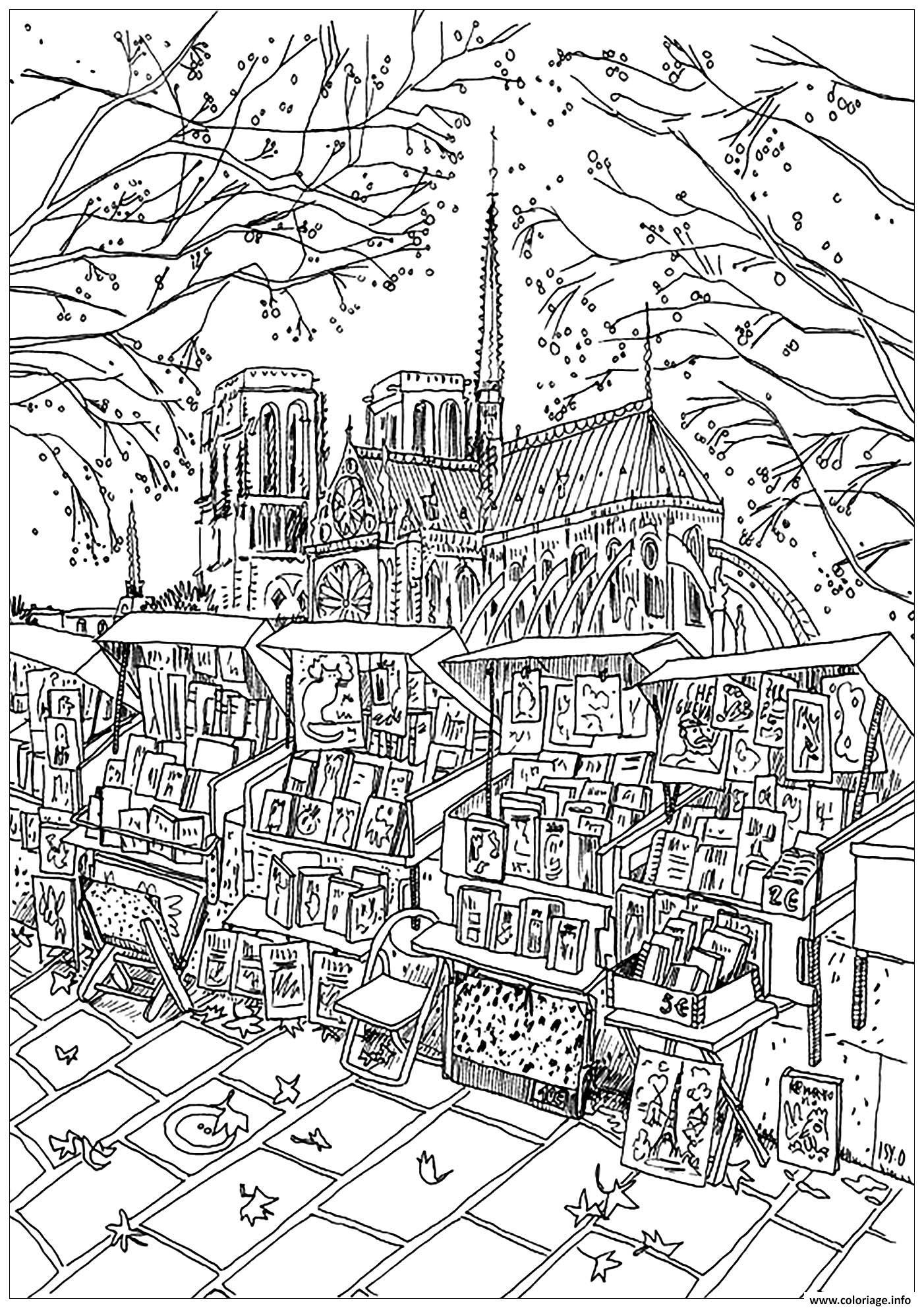 Dessin ville de paris notre dame de paris librairie ambulante Coloriage Gratuit à Imprimer