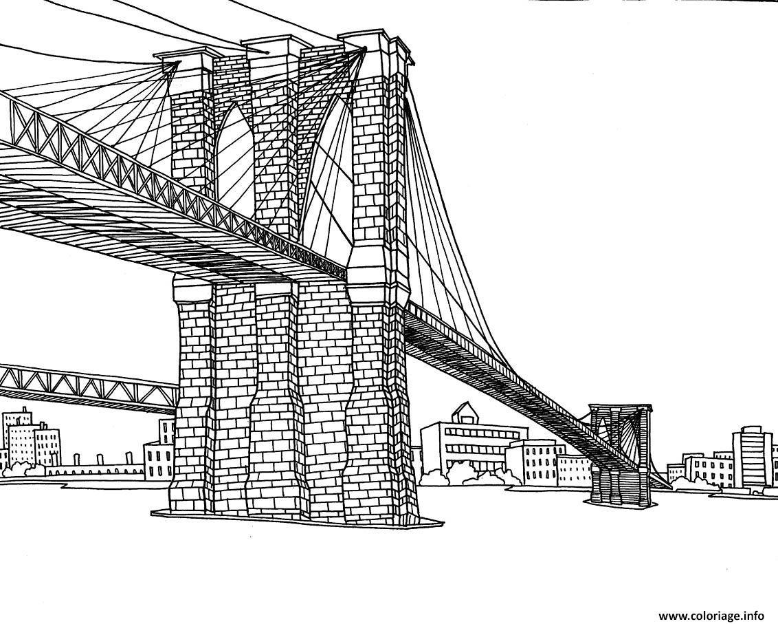 Dessin pont Brooklyn de la ville de New York Coloriage Gratuit à Imprimer