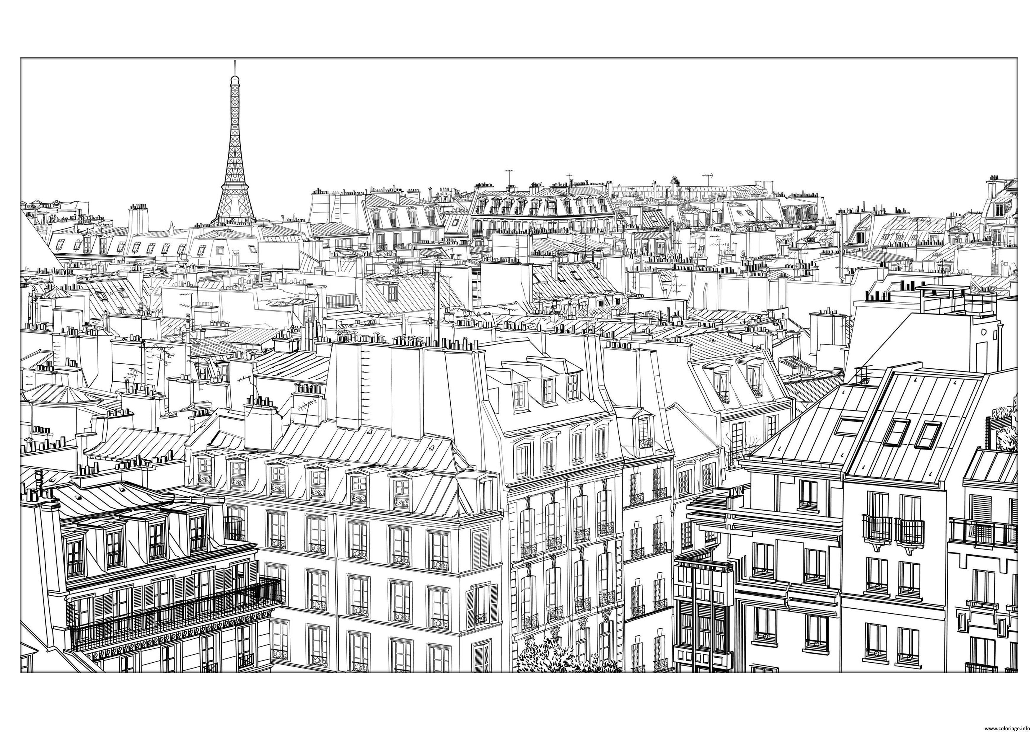 Dessin ville de paris paysage immeubles Coloriage Gratuit à Imprimer