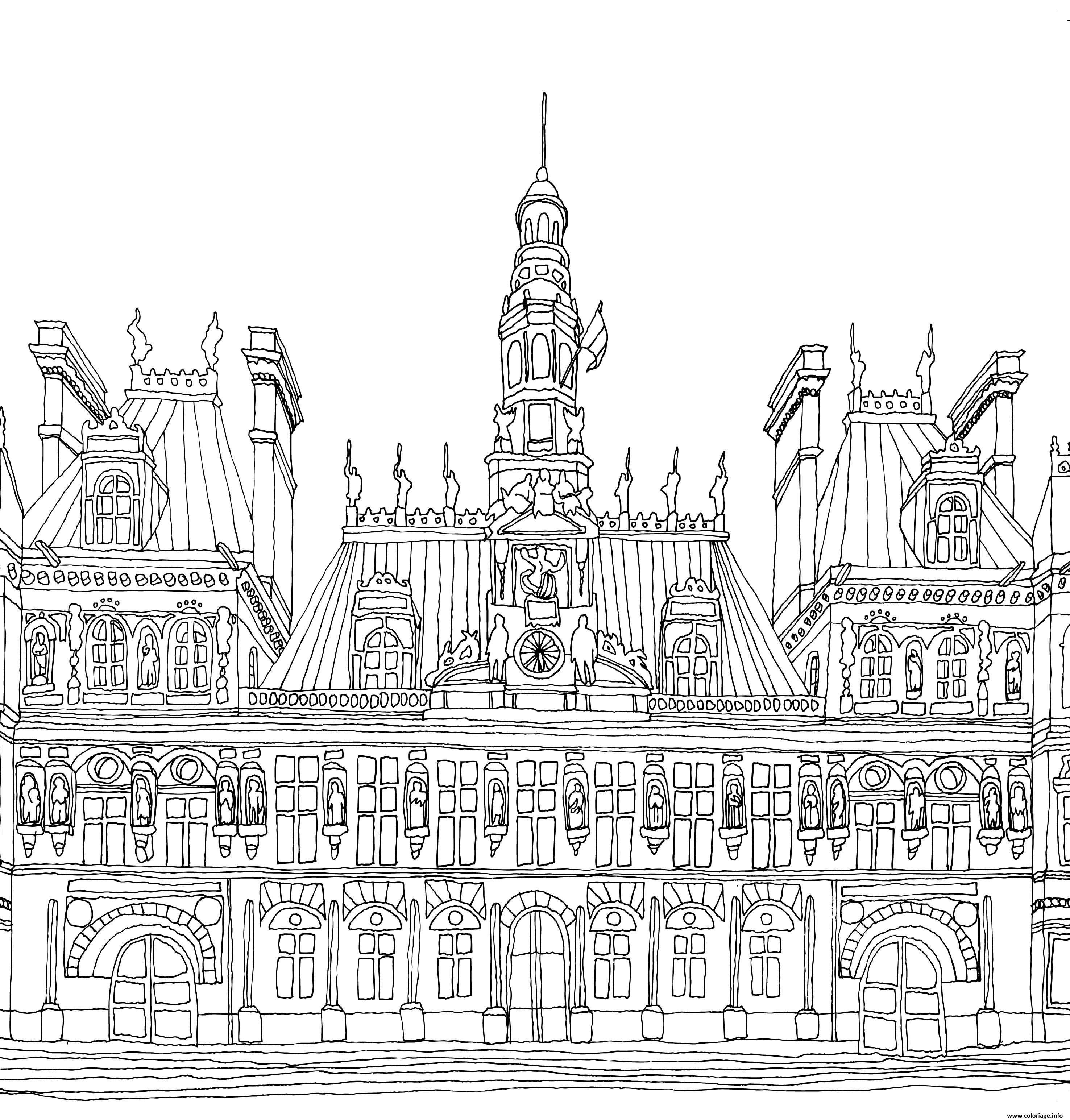 Dessin hotel de ville de Paris Coloriage Gratuit à Imprimer