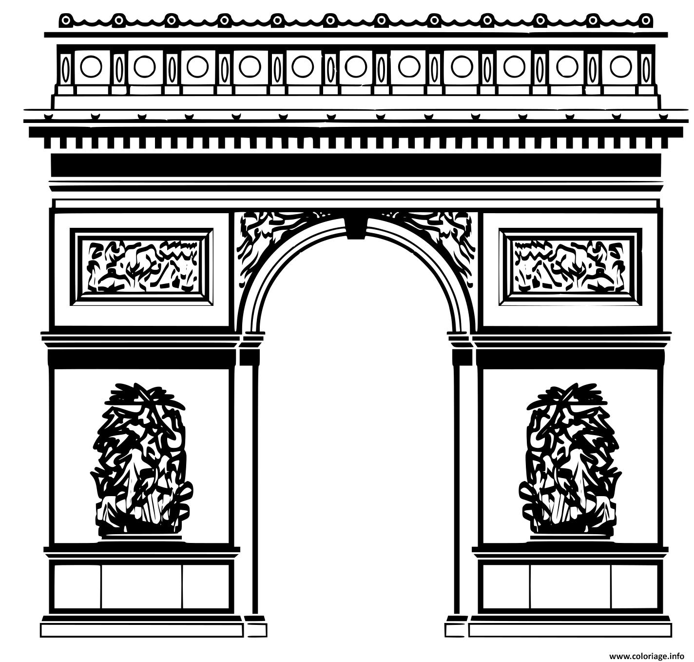 Dessin ville de paris arc de triomphe Coloriage Gratuit à Imprimer