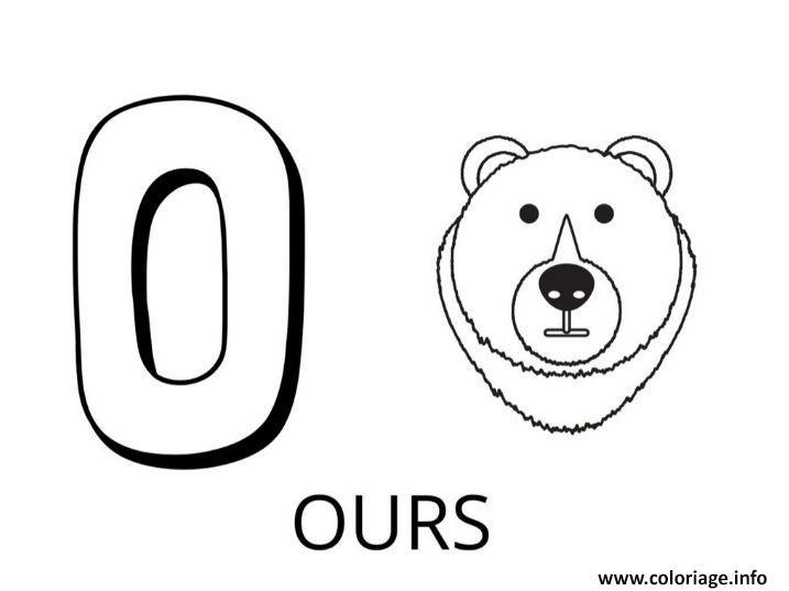 Dessin lettre o comme ours Coloriage Gratuit à Imprimer