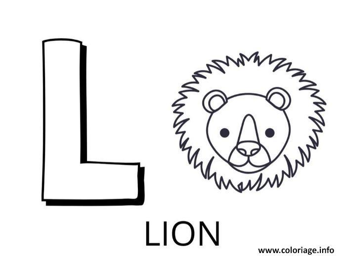 Dessin lettre l comme lion Coloriage Gratuit à Imprimer
