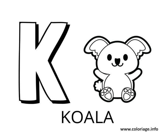 Dessin lettre k comme koala Coloriage Gratuit à Imprimer