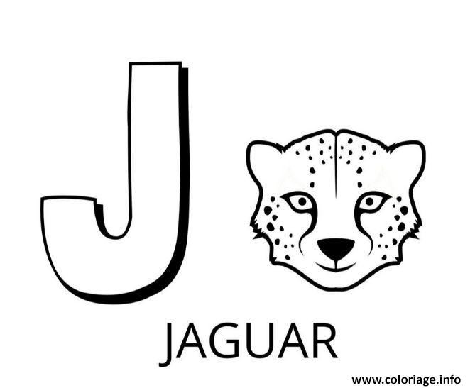 Dessin lettre j comme jaguar Coloriage Gratuit à Imprimer