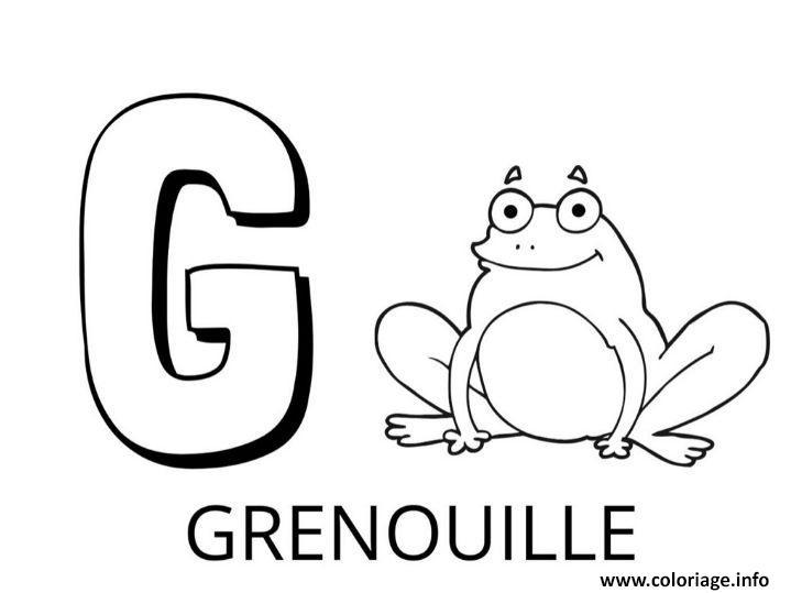 Dessin lettre g comme grenouille Coloriage Gratuit à Imprimer