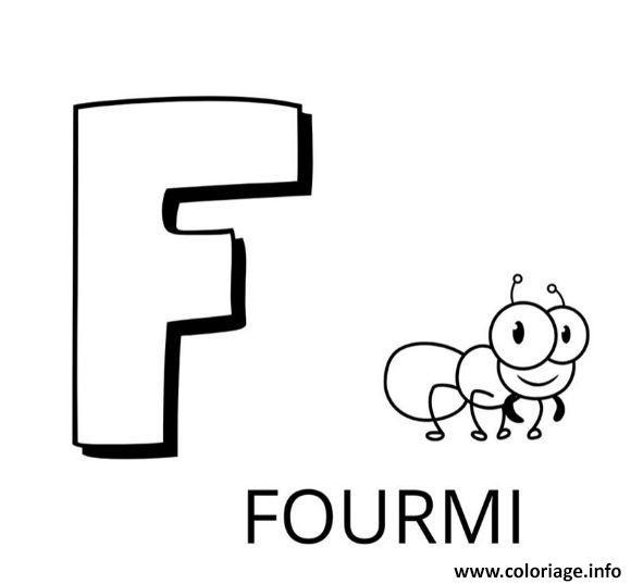 Dessin lettre f comme fourmi Coloriage Gratuit à Imprimer