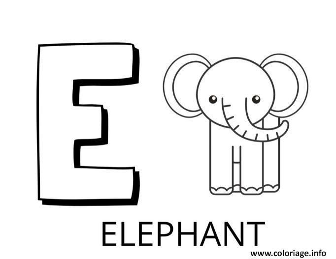 Dessin lettre e comme elephant Coloriage Gratuit à Imprimer