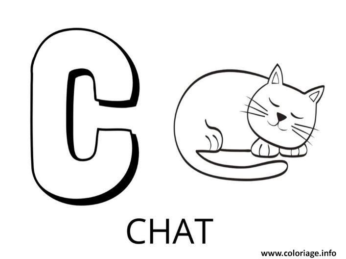 Dessin lettre c comme chat Coloriage Gratuit à Imprimer