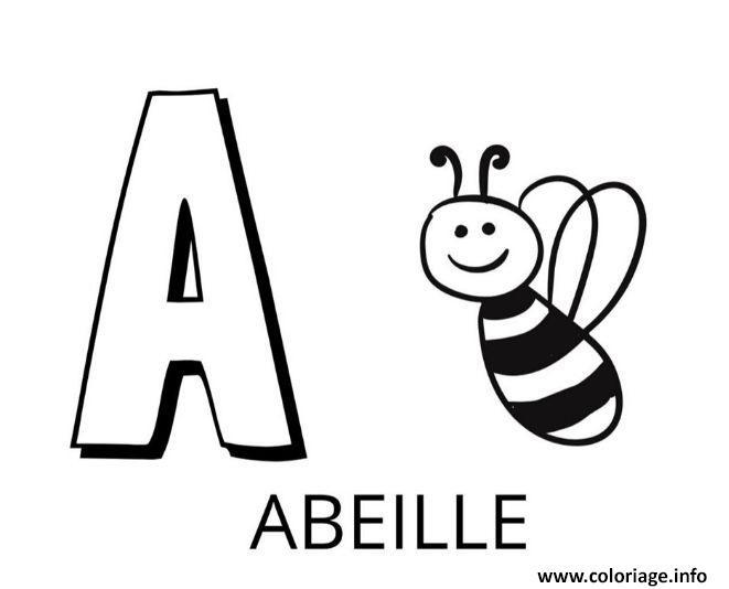 Dessin lettre a comme abeille Coloriage Gratuit à Imprimer