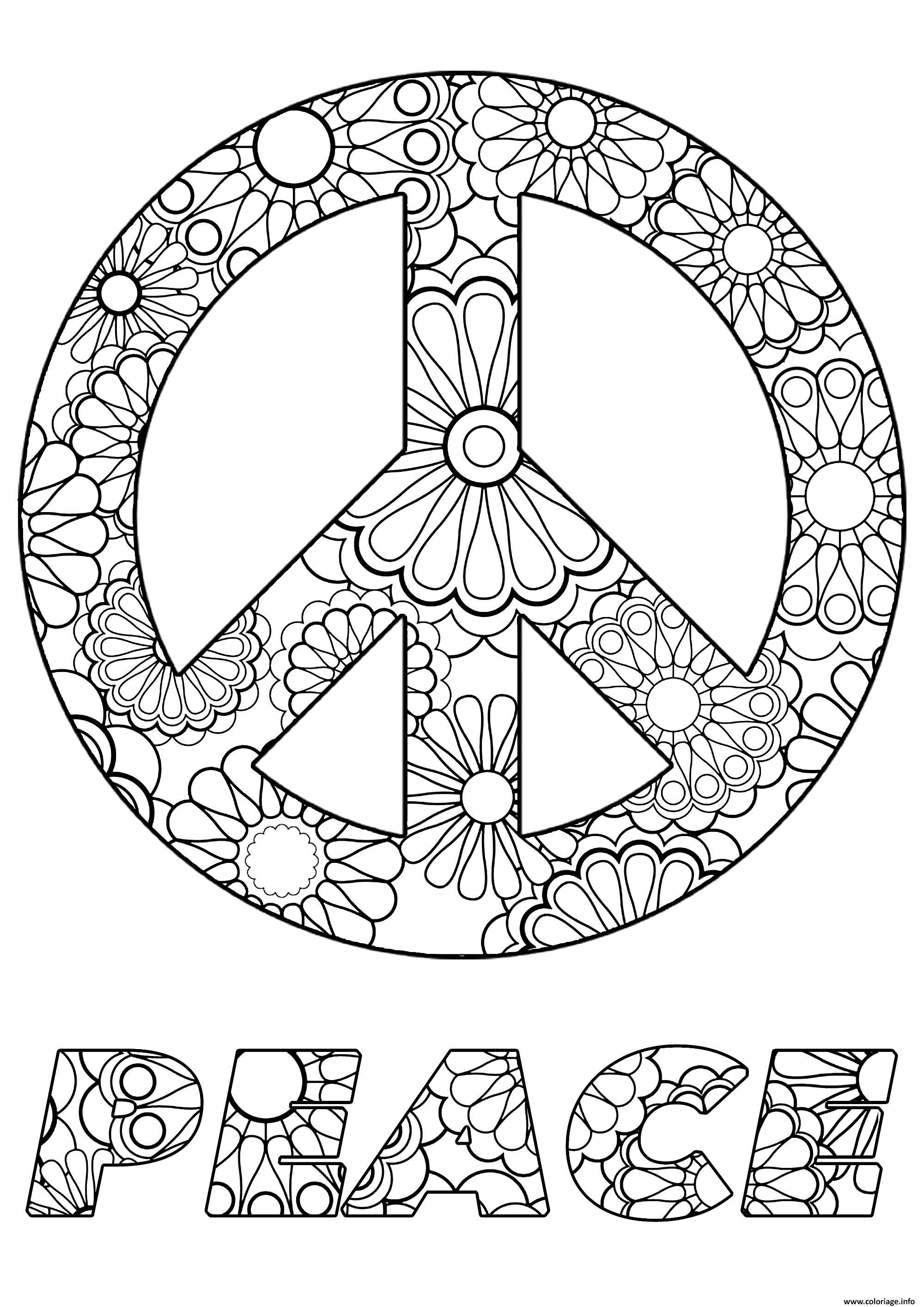 Coloriage Sumbole De Paix Peace En Anglais Motif Fleurs Dessin Paix A Imprimer