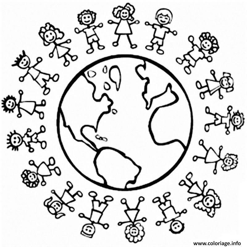 Coloriage Tous Egaux Paix Au Tour Du Monde Enfants Jecolorie Com