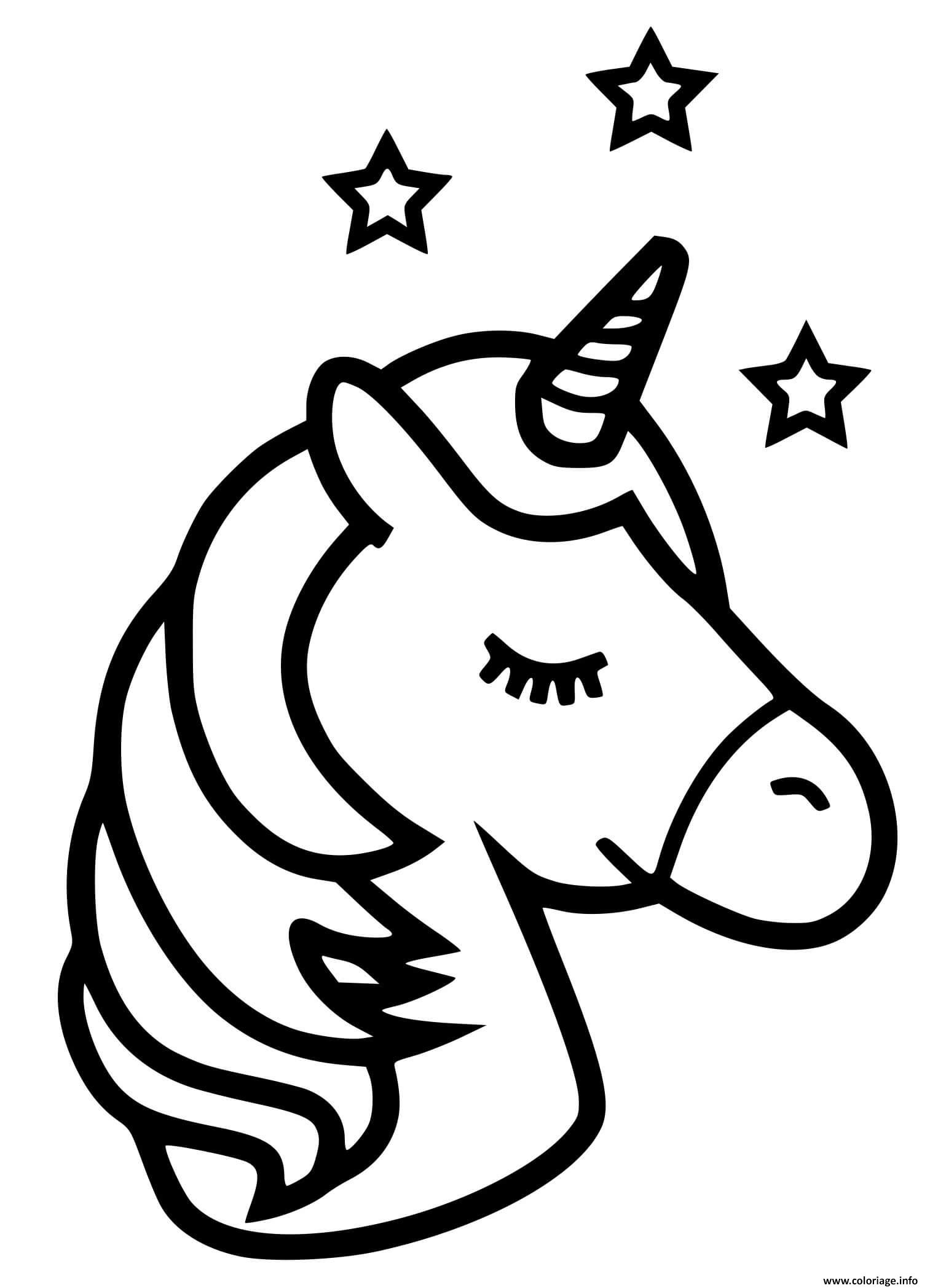 Coloriage licorne emoji kawaii etoiles - JeColorie.com