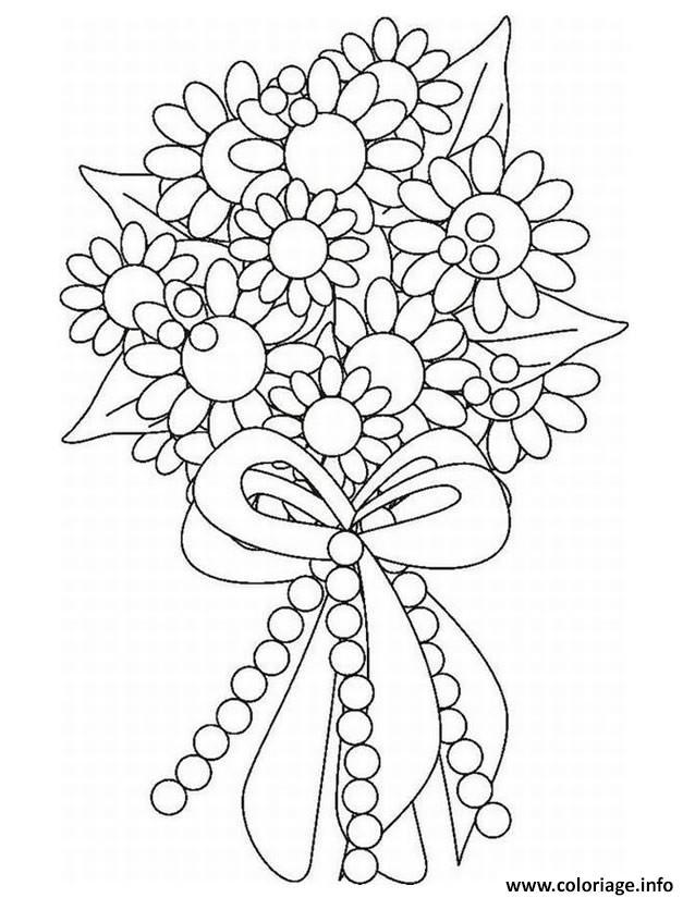 Dessin bouquet de fleurs pour mariage Coloriage Gratuit à Imprimer