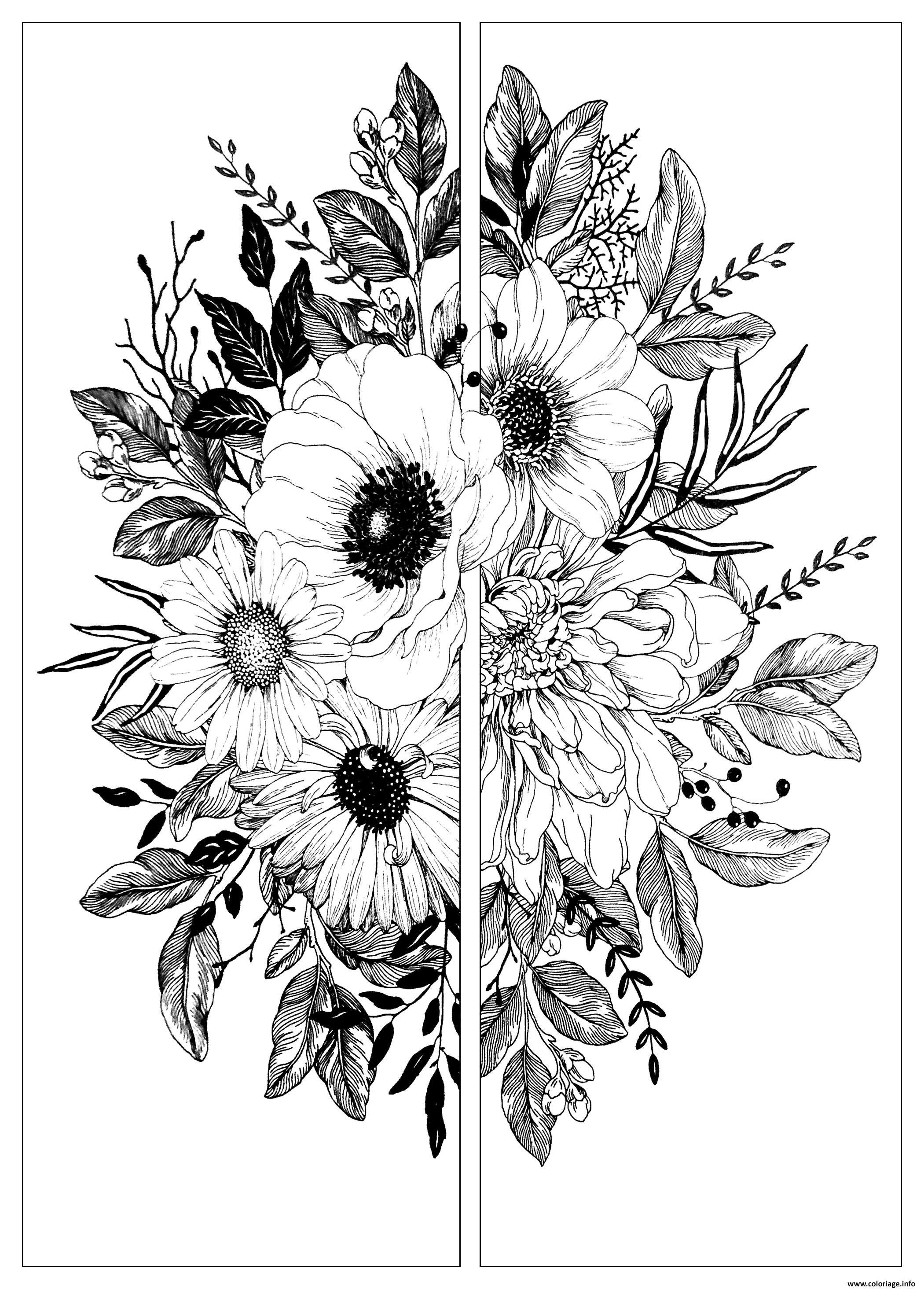 Coloriage Fleurs Deux Parties Dessin Bouquet De Fleurs à ...