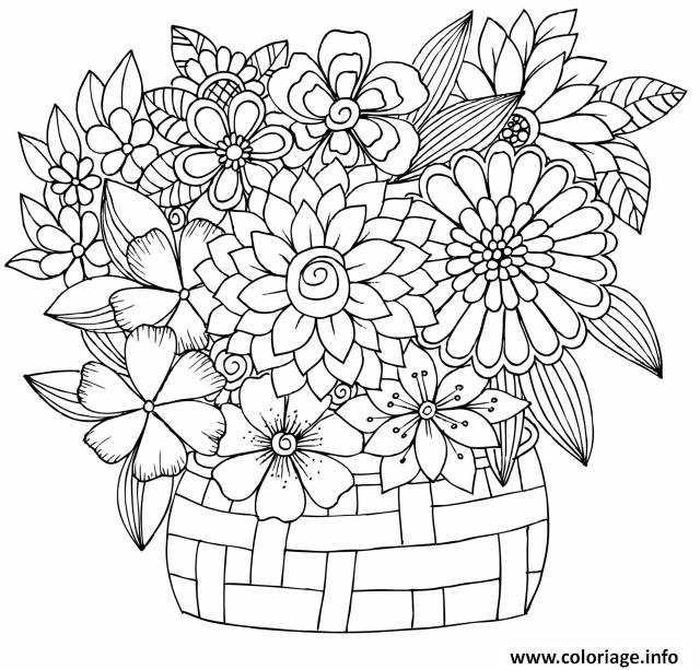 Dessin bouquet fleurs tulipe Felphinium Dahlia Jonquille Coloriage Gratuit à Imprimer