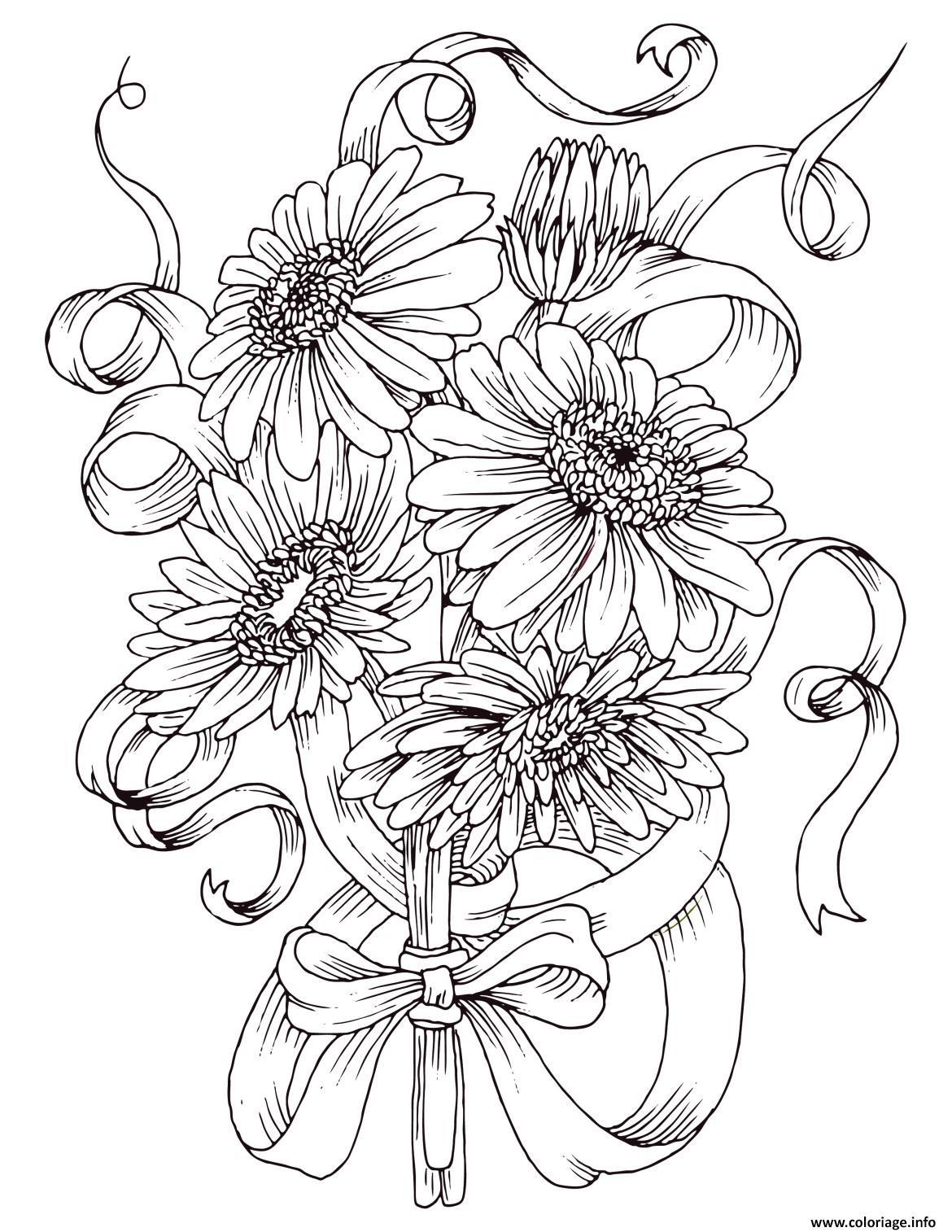 Dessin magnifique bouquet de fleurs marguerite Coloriage Gratuit à Imprimer