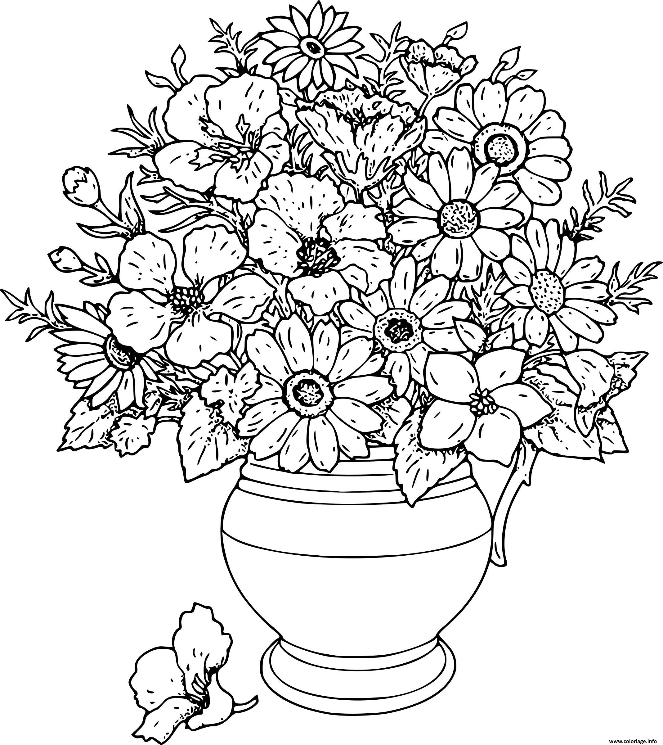 Dessin bouquet de fleurs dans un vase Coloriage Gratuit à Imprimer