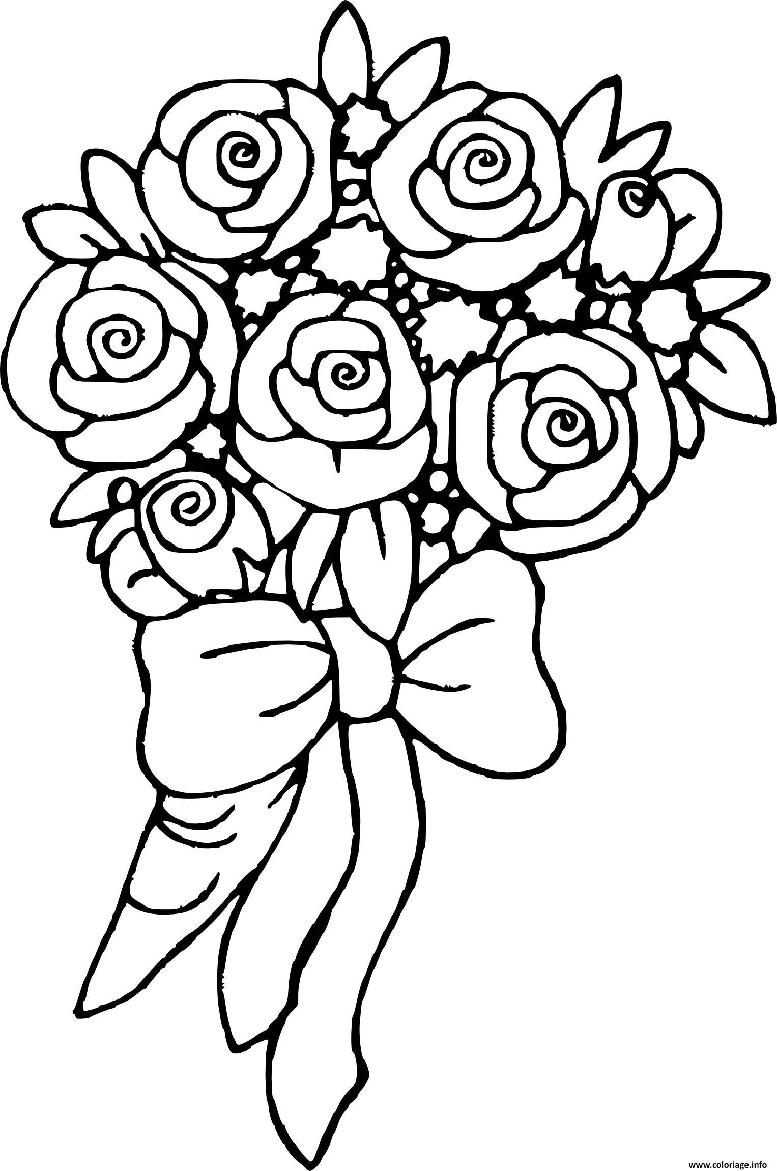 Dessin bouquet de fleurs rose Coloriage Gratuit à Imprimer