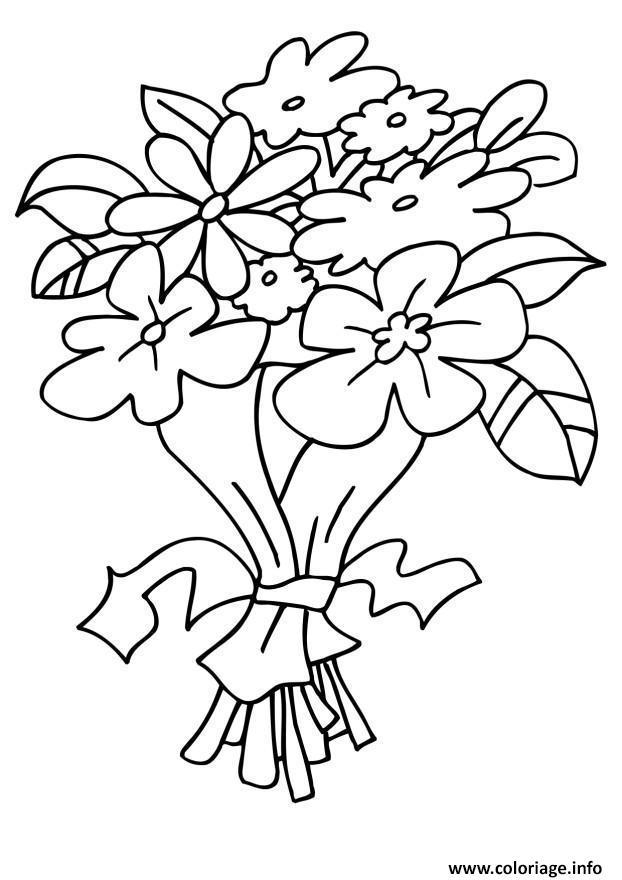 Dessin bouquet fleurs maternelle Coloriage Gratuit à Imprimer