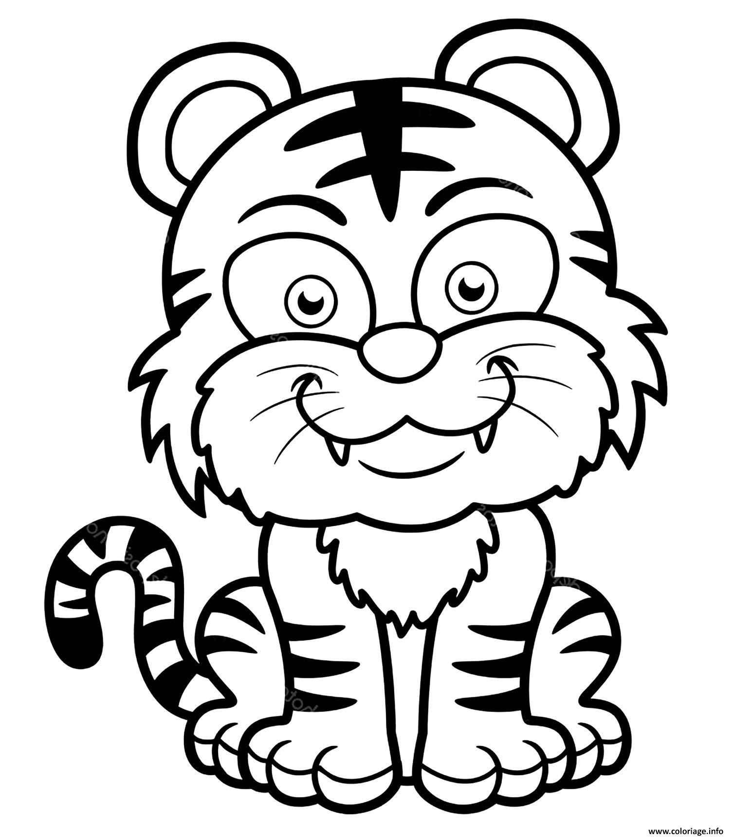 Coloriage Tigre Enfants Facile Maternelle Dessin Tigre A Imprimer