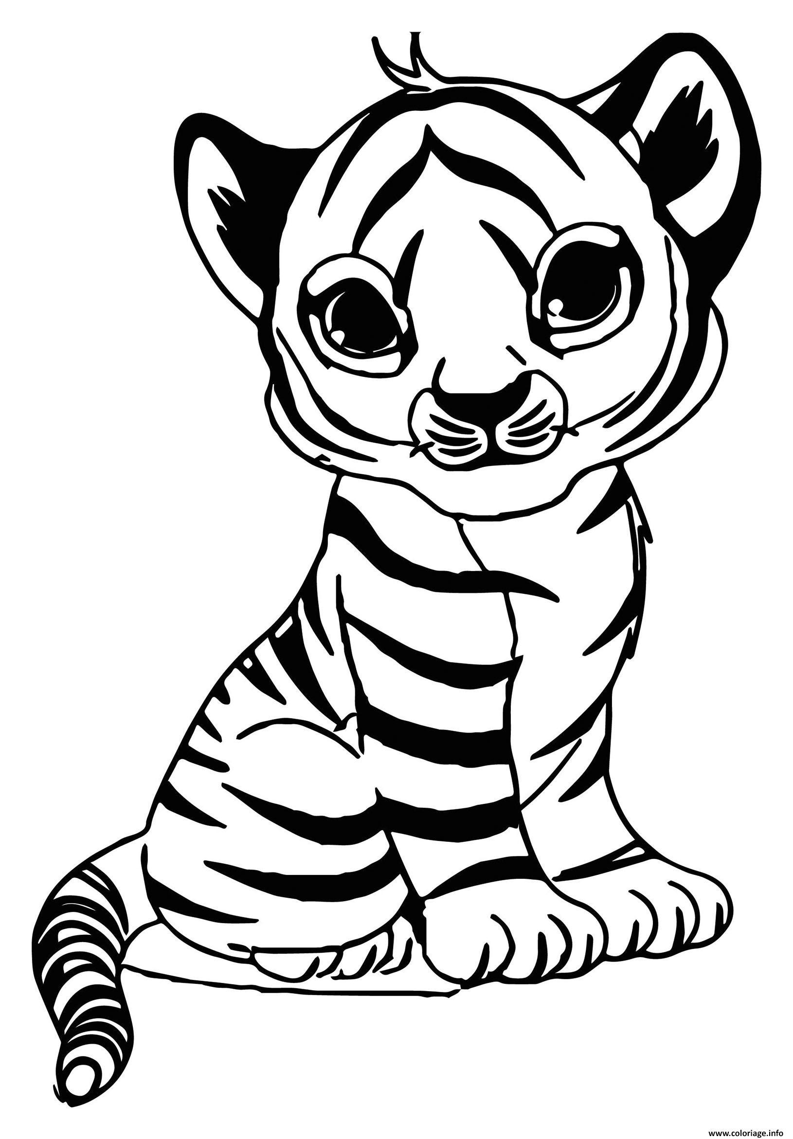 Dessin adorable bebe tigre maternelle Coloriage Gratuit à Imprimer