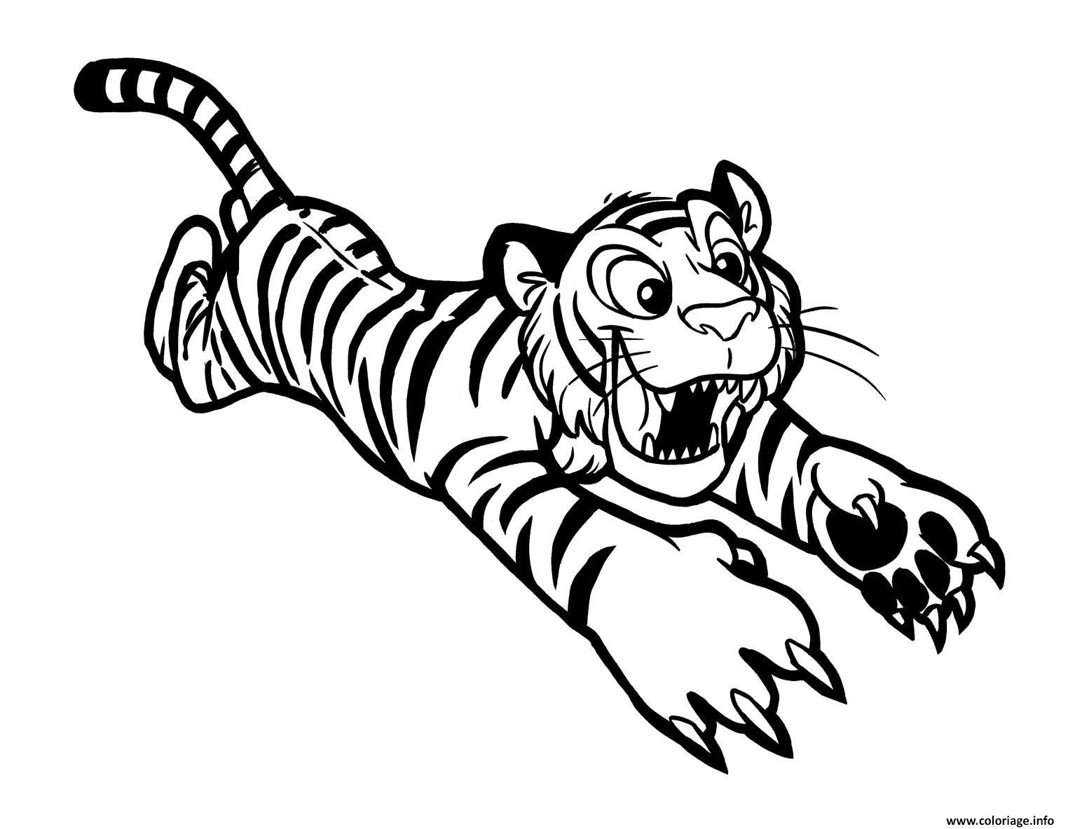Dessin tigre en plein action pour attraper sa proie Coloriage Gratuit à Imprimer