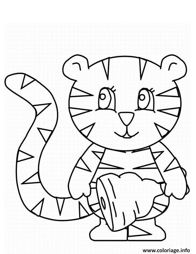 Dessin tigre mignon avec un morceau de viande Coloriage Gratuit à Imprimer