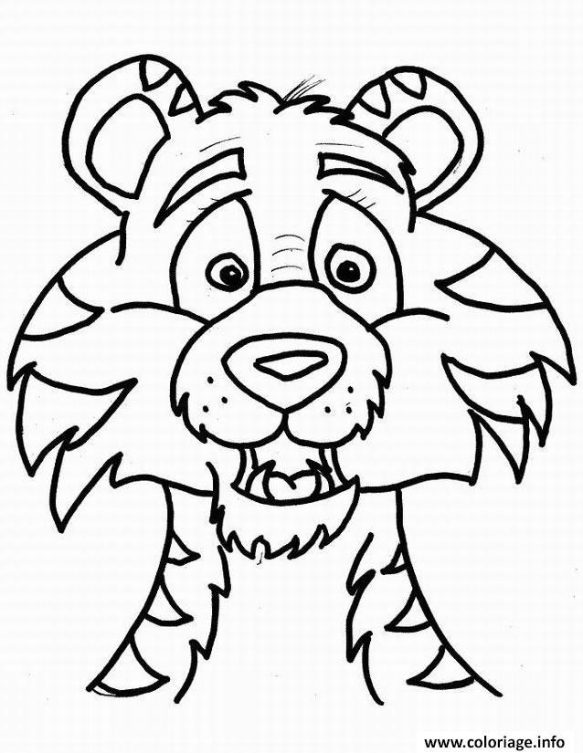 Dessin magnifique tigre dans la savane Coloriage Gratuit à Imprimer