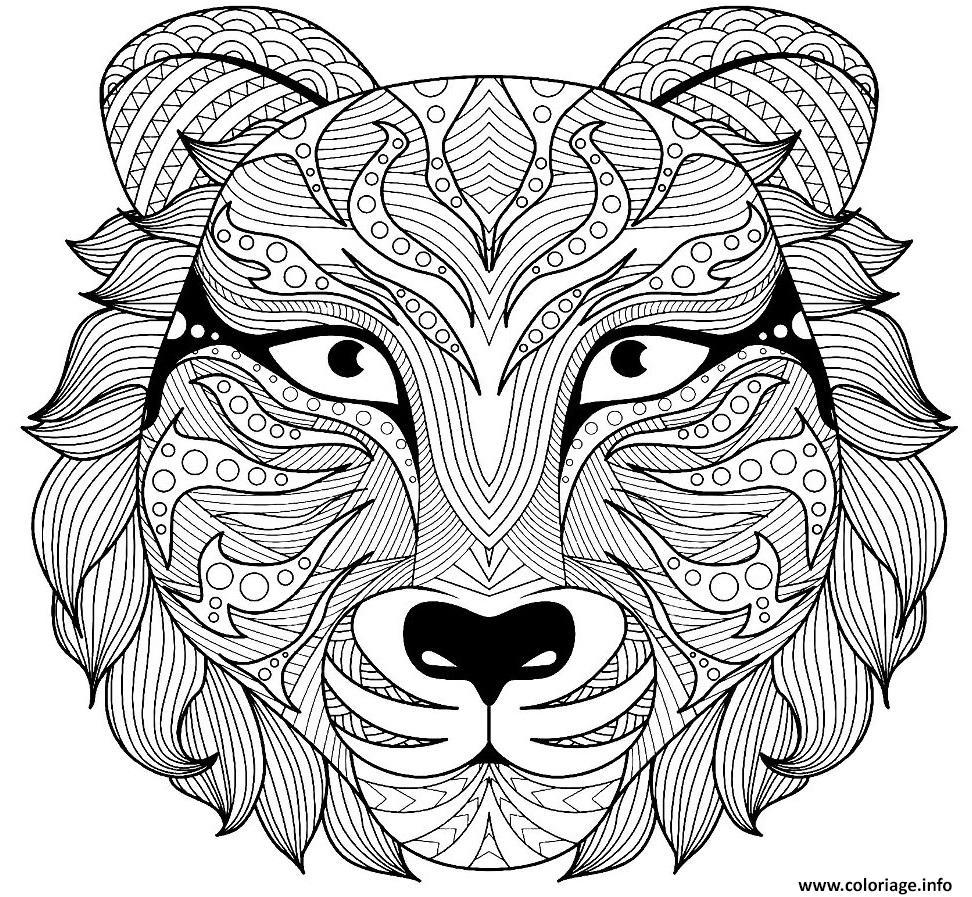 Dessin tete de tigre zentangle pour adulte Coloriage Gratuit à Imprimer