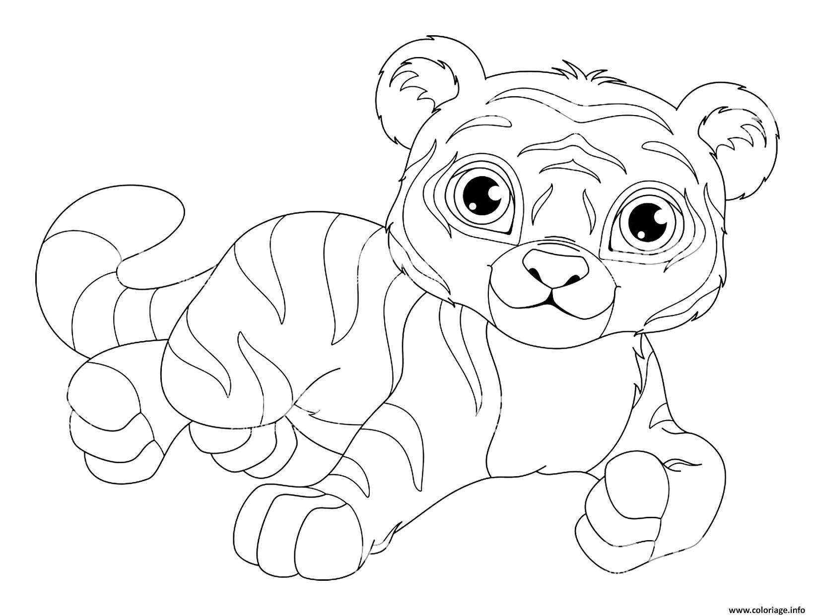 Dessin tigre kawaii mignon avec de superbe yeux Coloriage Gratuit à Imprimer