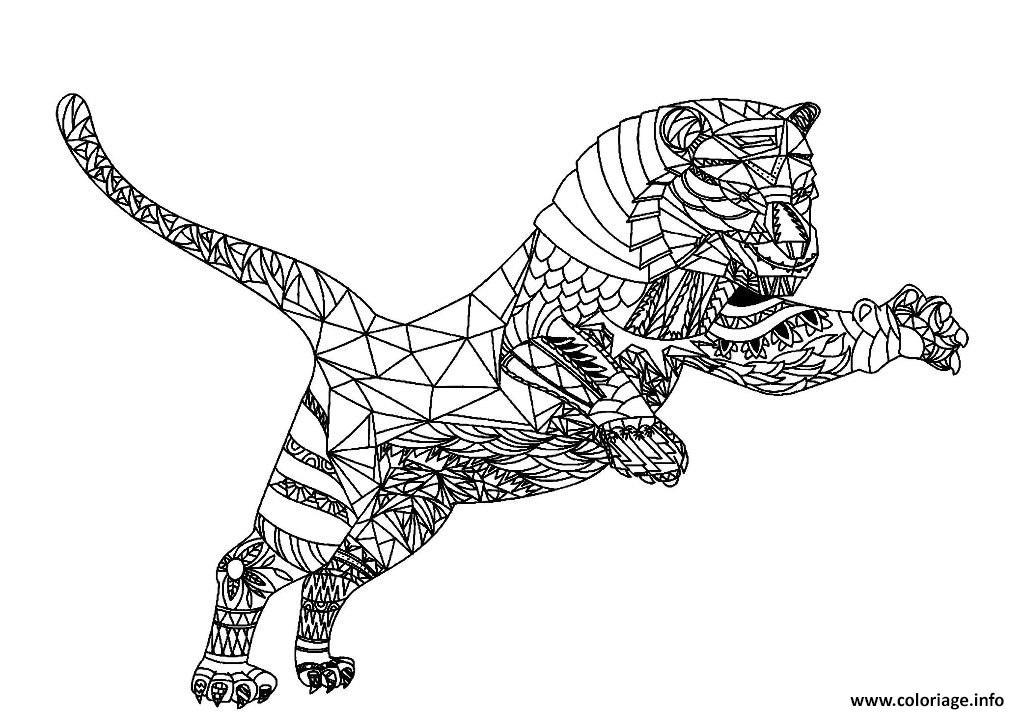 Dessin tigre zentangle pour adulte Coloriage Gratuit à Imprimer