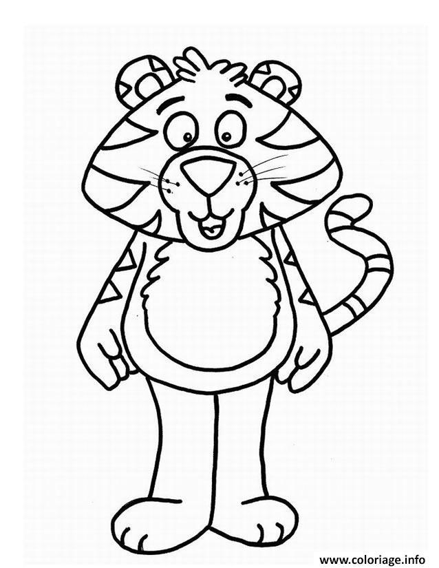 Dessin un tigre plutot rigolo Coloriage Gratuit à Imprimer