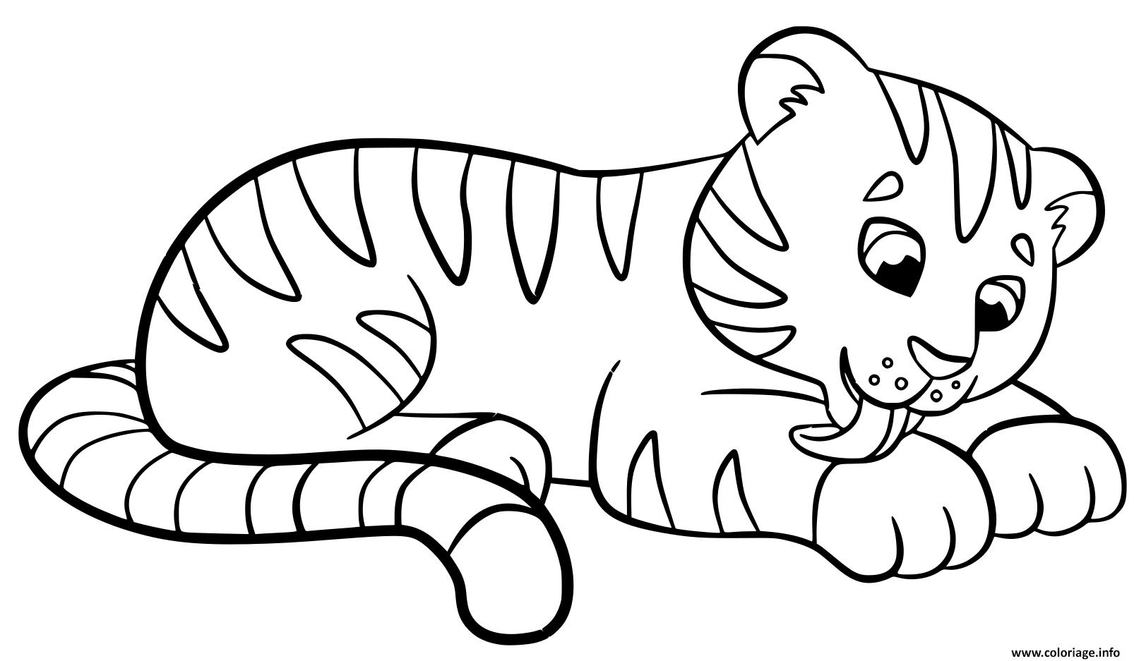Coloriage Bebe Tigre Mignon Kawaii Dessin Tigre A Imprimer