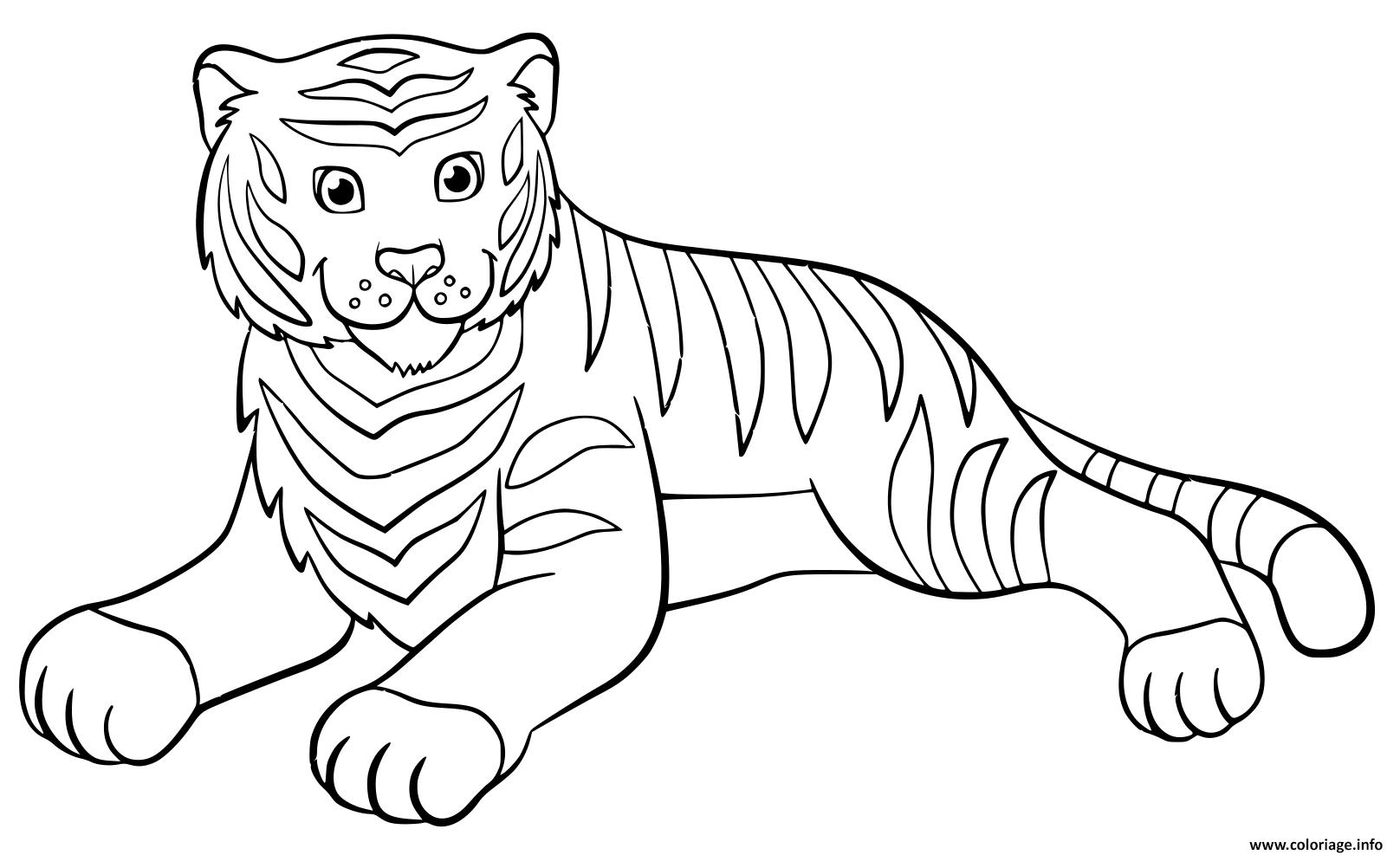 Dessin adorable tigre qui se repose Coloriage Gratuit à Imprimer