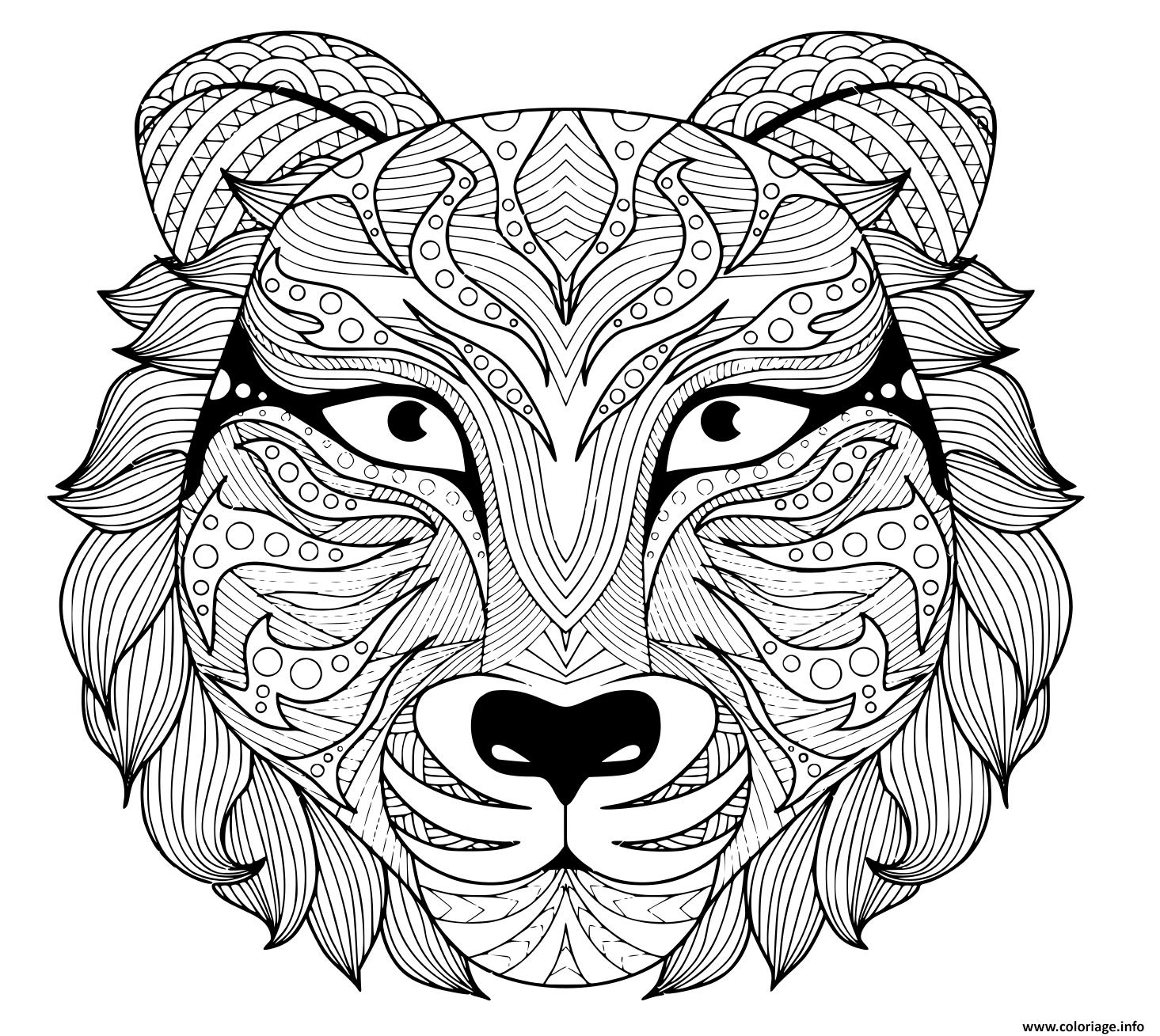 Dessin tattoo tigre zentangle adulte avec yeux colore Coloriage Gratuit à Imprimer