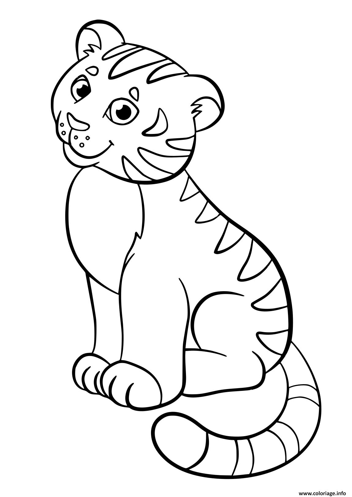 Dessin tigresse assise et souriante Coloriage Gratuit à Imprimer