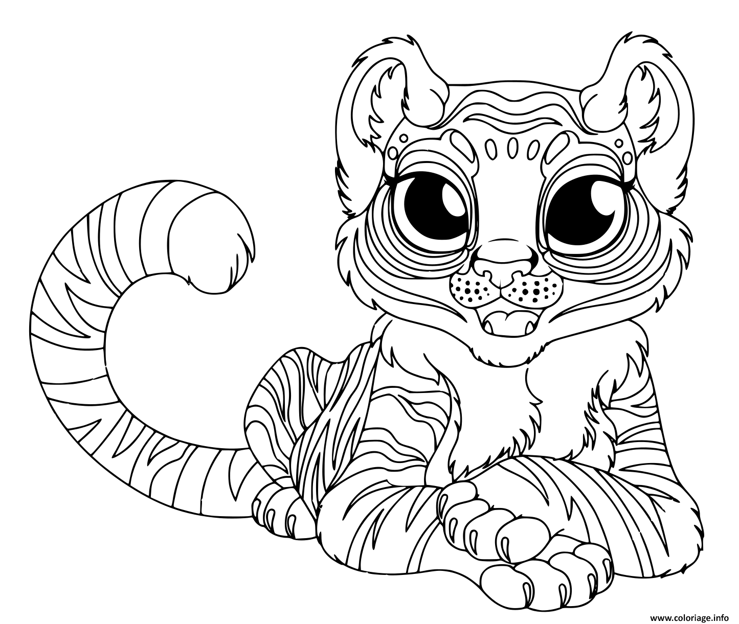 Dessin cartoon bebe tigre grand yeux Coloriage Gratuit à Imprimer