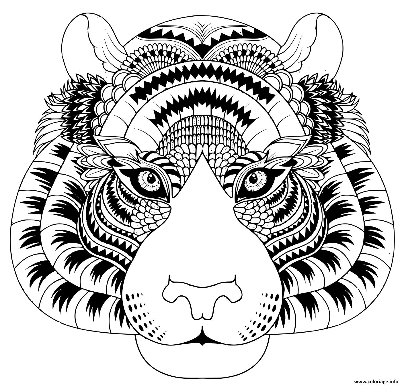 Dessin tete de tigre avec details zentangle Coloriage Gratuit à Imprimer
