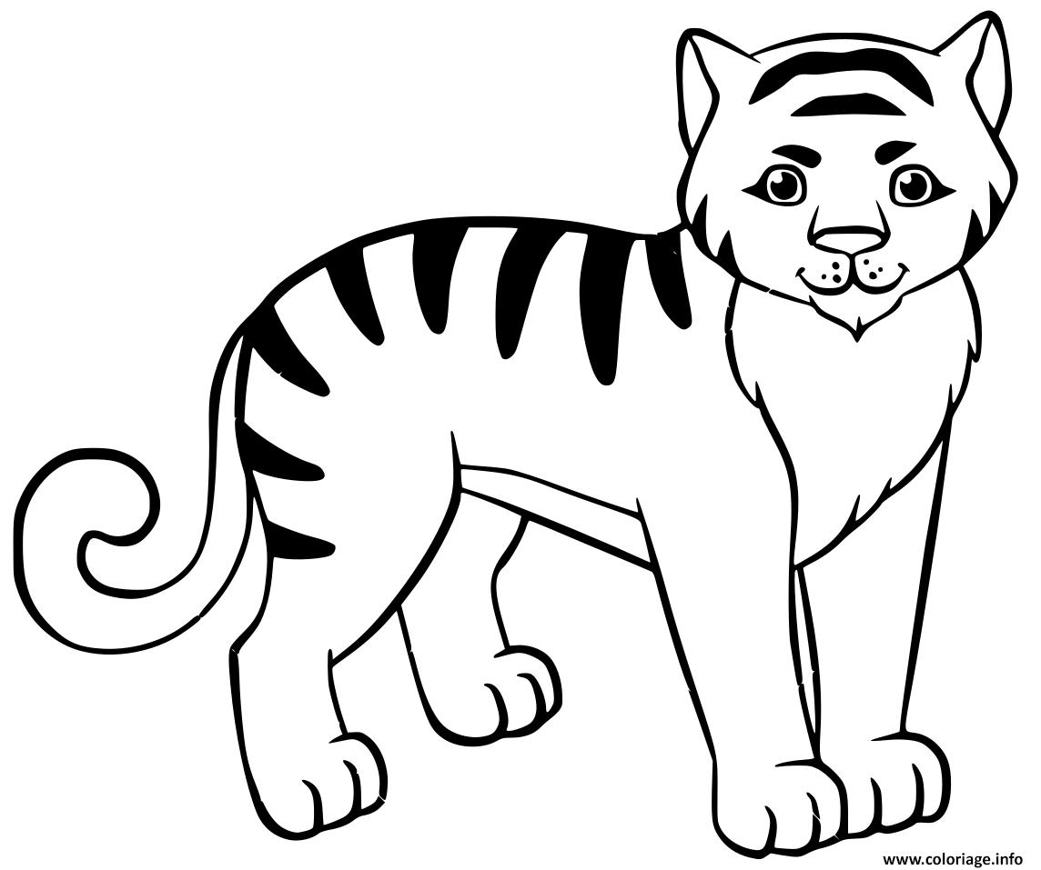 Dessin tigron avec rayure noire Coloriage Gratuit à Imprimer