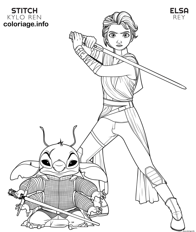 Coloriage Rey Elsa And Kylo Ren Stitch Disney Star Wars dessin