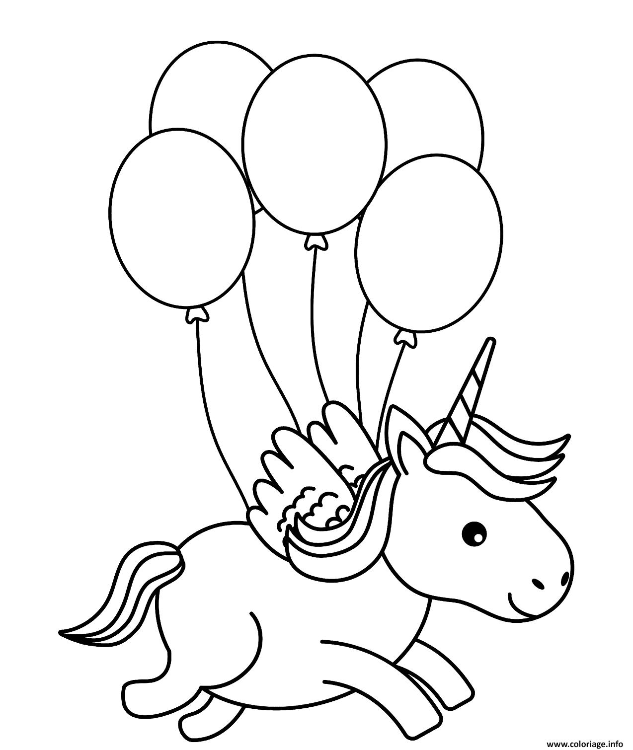 Dessin une licorne vol avec des ballons dans les airs Coloriage Gratuit à Imprimer