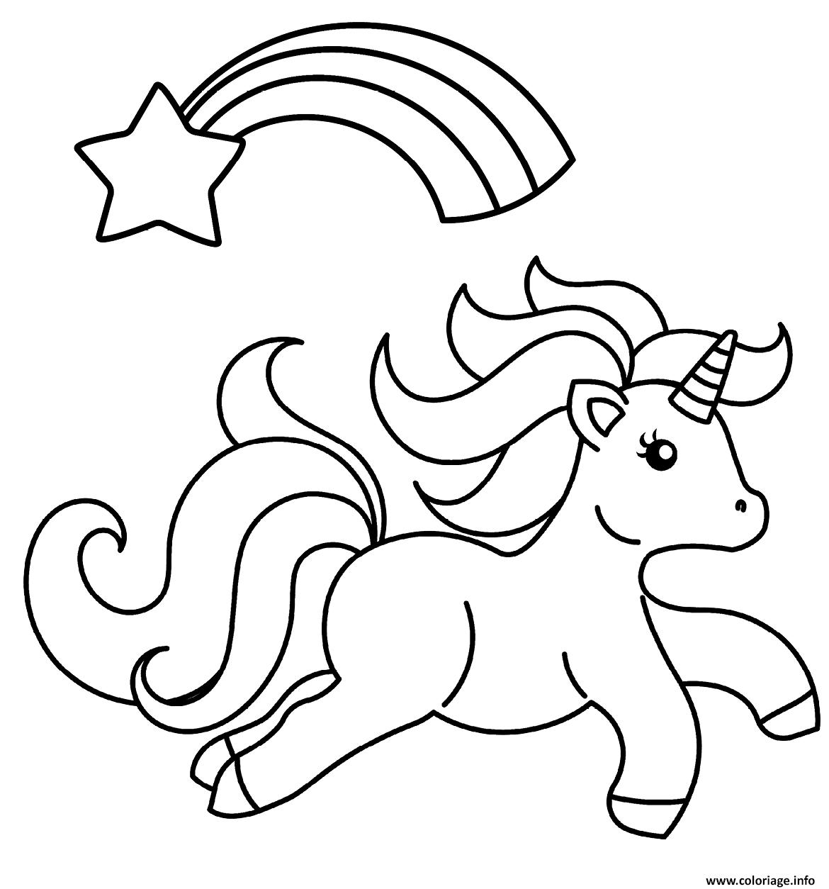 Coloriage bebe licorne magique avec un arc en ciel et une ...